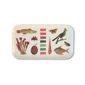 Fascinée depuis l'enfance par les dessins naturalistes des XVIIIe et XIXe siècles, je me suis amusée à associer poissons, oiseau, plante carnivore, fruit du pandanus et autre grenouille, selon leurs seules couleurs.