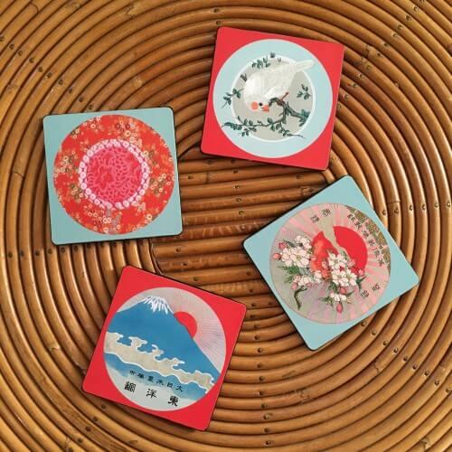"""Coffret 4 dessous de verre """"Fujiyama"""", décoration concept store à Blois arts de la table Loir et Cher"""