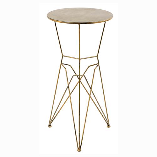 Guéridon en métal couleur laiton parfait pour accueillir une lampe, un vase ou une plante. (diamètre 39cm, hauteur 70cm)